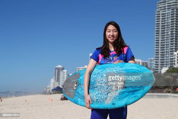 Sung Ji Hyun of Korea poses during a Sudirman Cup media opportunity at Surfers Paradise Beach on May 23 2017 in Gold Coast Australia Some of the...