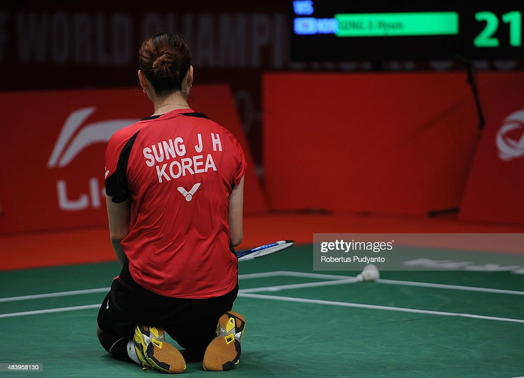 Sung Ji Hyun of Korea reacts against P. V. Sindhu of India in the quarter final match of the 2015 Total BWF World Championship at Istora Senayan on August 14, 2015 in Jakarta, Indonesia.