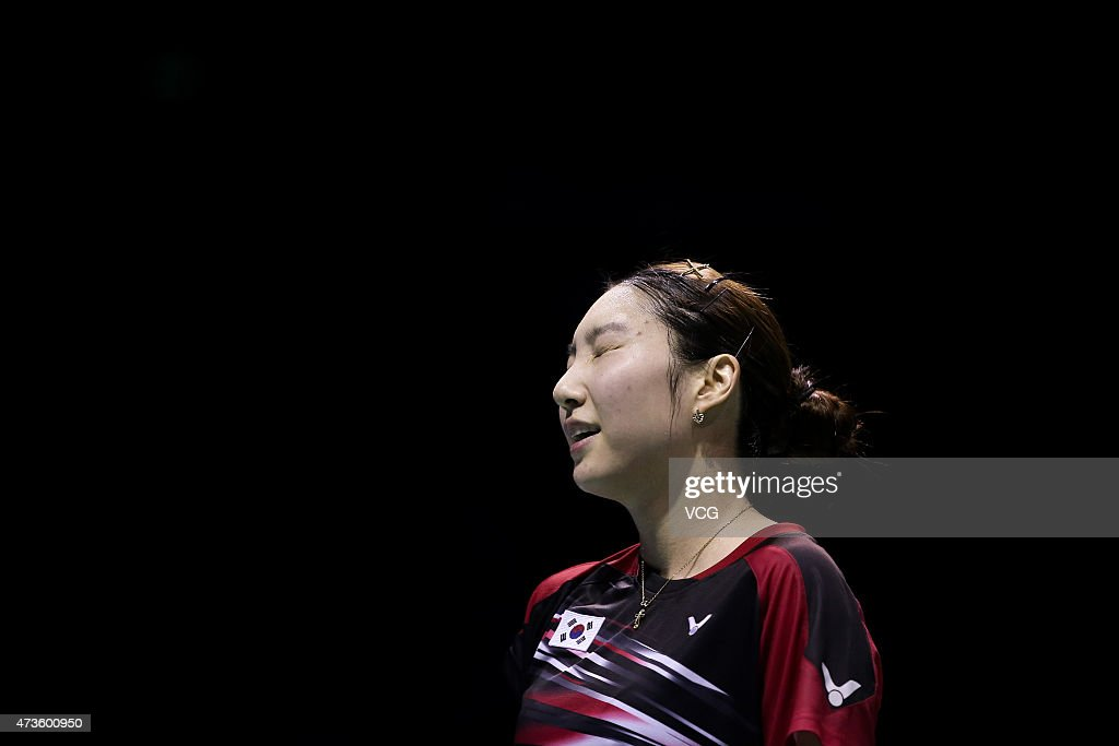 Sung Ji Hyun of Korea reacts during Women's Singles match against Nozomi Okuhara of Japan in the semi-finals on day seven of 2015 Sudirman Cup BWF World Mixed Team Championships on May 16, 2015 in Dongguan, Guangdong province of China.