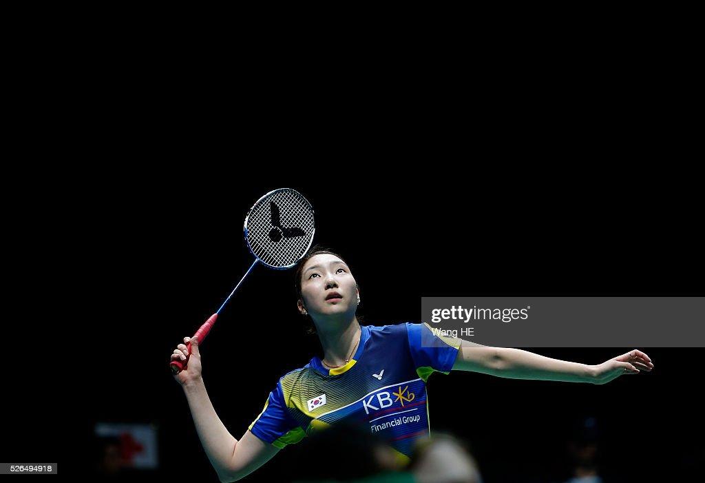 Sung Ji Hyun of Korea returns a shot to LI Xuerui of China during the women's singles semi-final match at the 2016 Badminton Asia Championships, in Wuhan, Hubei province, China, April 30, 2016.