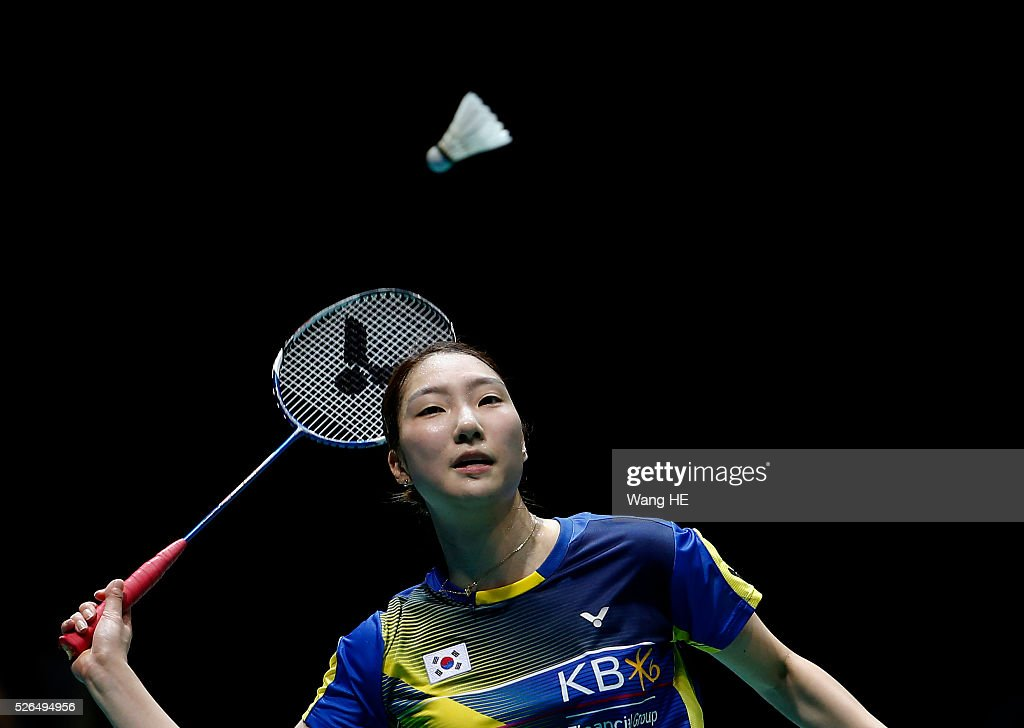 Sung Ji Hyun of Korea returns a shot to LI Xuerui of China during the women's singles semi-final match at the 2016 Badminton Asia Championships, in Wuhan, Hubei province, China, April 30, 2016.