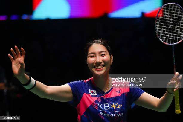 Sung Ji Hyun of South Korea celebrates her victory following the women's singles Sudirman Cup match against Ratchanok Intanon of Thailand at the Gold...