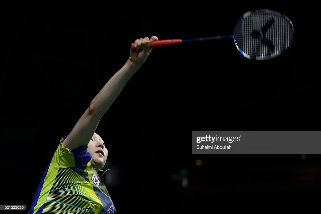 Sung Ji Hyun of South Korea in action against Sun Yu of China during the women's single quarter final of OUE Singapore Open at Singapore Indoor Stadium on April 15, 2016 in Singapore.