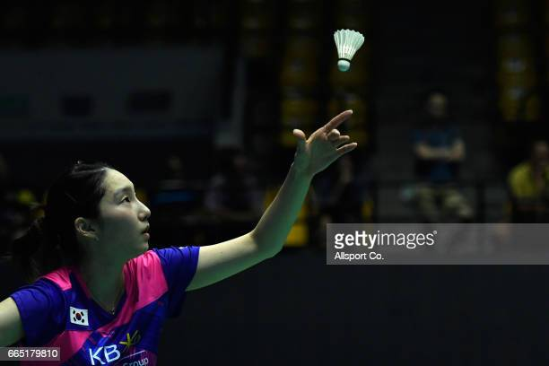Sung Ji Hyun of South Korea plays a return shot to Chia Hsin Lee of Chinese Taipei in the women's singles during round two of the 2017 World BWF...