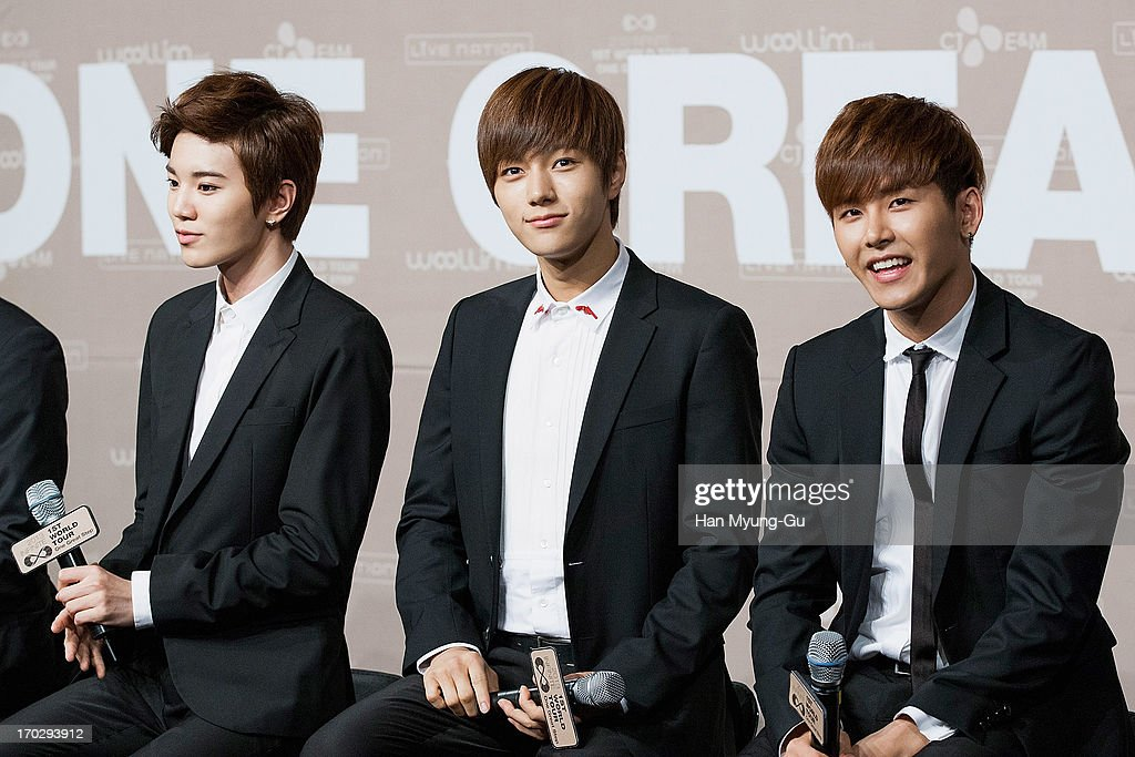 Sung Jong, L. Kim and Hoya of South Korean boy band Infinite during the 2013 Infinite 1st World Tour 'One Great Step' Press Conference on June 10, 2013 in Seoul, South Korea.