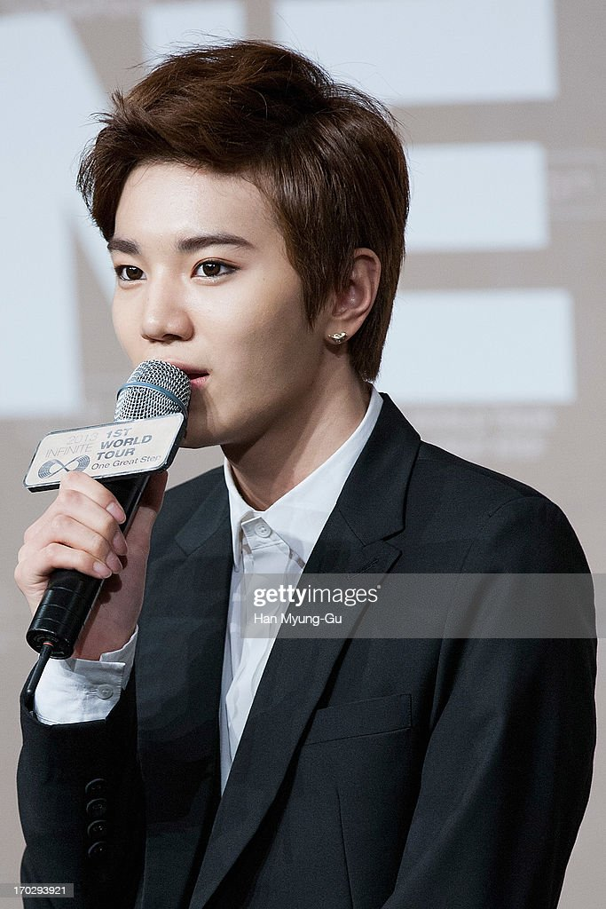 Sung Jong of South Korean boy band Infinite during the 2013 Infinite 1st World Tour 'One Great Step' Press Conference on June 10, 2013 in Seoul, South Korea.