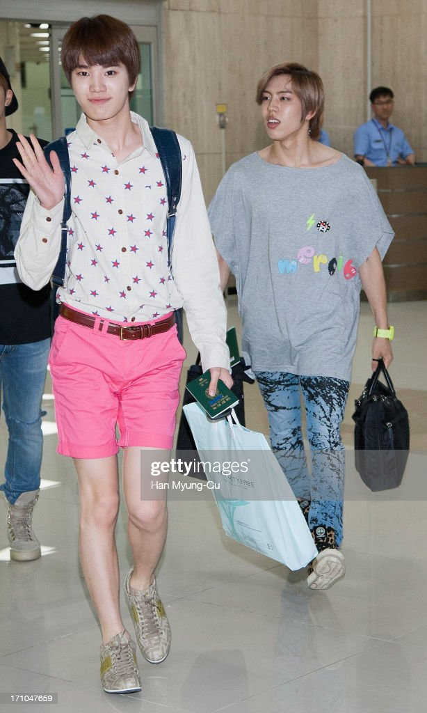 Sung Jong of South Korean boy band Infinite is seen upon arrival at Gimpo International Airport on June 21, 2013 in Seoul, South Korea.