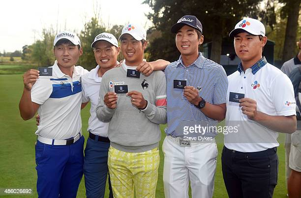 Sung Kang Lucas Lee DH Lee Michael Kim and Si Woo Kim pose with their PGA tour cards after the WinCo Foods Portland Open on August 30 2015 in North...