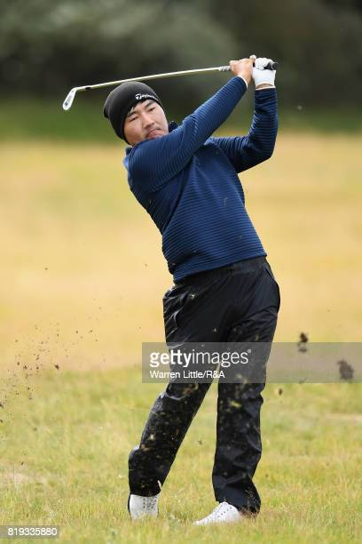 Sung Kang of Korea hits his second shot on the 1st hole during the first round of the 146th Open Championship at Royal Birkdale on July 20 2017 in...
