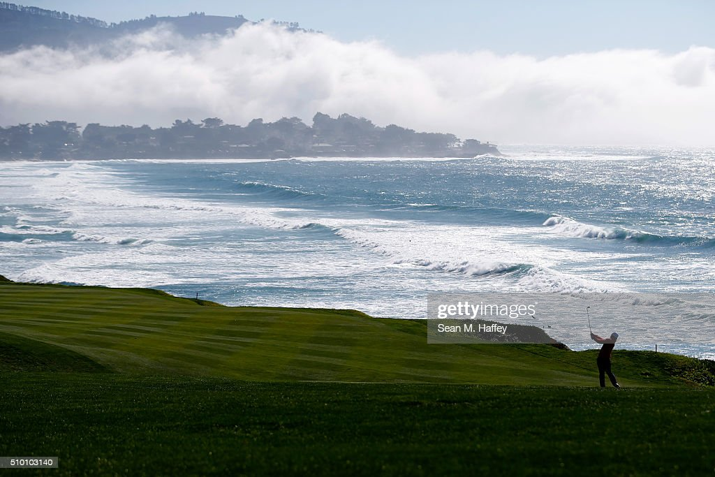 Sung Kang of Korea plays a shot from the fairway on the 10th hole during round three of the ATT Pebble Beach National ProAm at the Pebble Beach Golf...