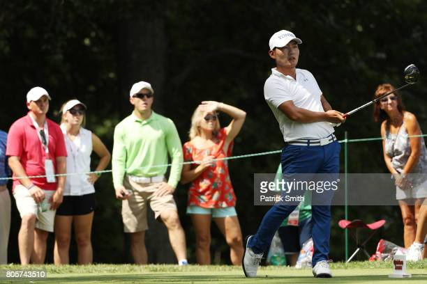 Sung Kang of Korea plays his shot from the eighth tee during the final round of the Quicken Loans National on July 2 2017 TPC Potomac in Potomac...