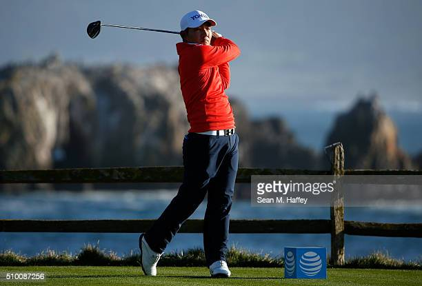 Sung Kang of Korea plays his tee shot on the 18th hole during round three of the ATT Pebble Beach National ProAm at the Pebble Beach Golf Links on...