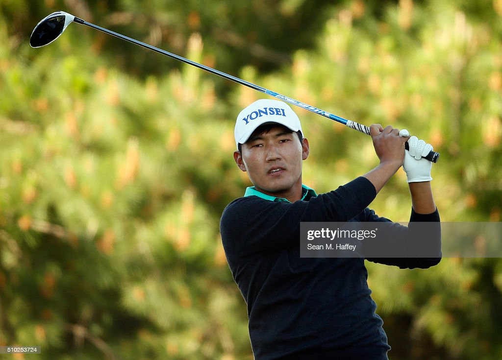<a gi-track='captionPersonalityLinkClicked' href=/galleries/search?phrase=Hiroshi+Iwata&family=editorial&specificpeople=4696166 ng-click='$event.stopPropagation()'>Hiroshi Iwata</a> of Japan plays his tee shot on the second hole during the final round of the AT&T Pebble Beach National Pro-Am at the Pebble Beach Golf Links on February 14, 2016 in Pebble Beach, California.