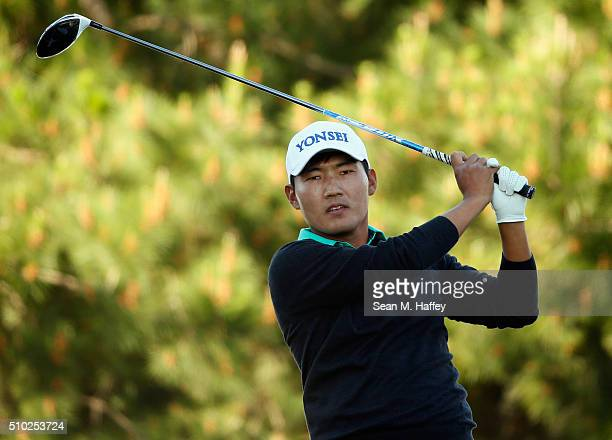 Sung Kang of Korea plays his tee shot on the second hole during the final round of the ATT Pebble Beach National ProAm at the Pebble Beach Golf Links...