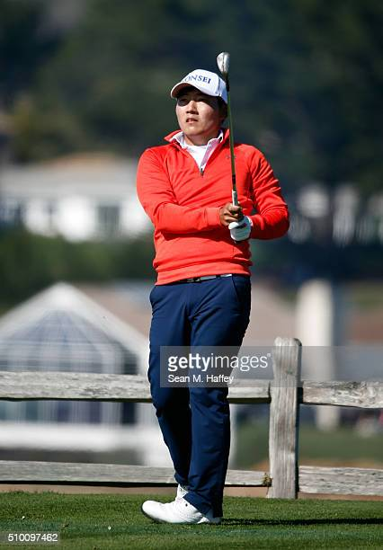 Sung Kang of Korea plays his tee shot on the seventh hole during round three of the ATT Pebble Beach National ProAm at the Pebble Beach Golf Links on...