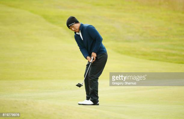Sung Kang of Korea putts on the 4th green during the first round of the 146th Open Championship at Royal Birkdale on July 20 2017 in Southport England