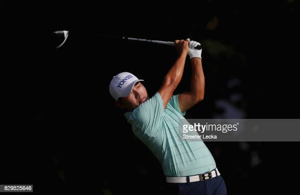 Sung Kang of South Korea plays his shot from the fifth tee during the first round of the 2017 PGA Championship at Quail Hollow Club on August 10 2017...