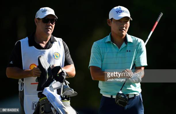 Sung Kang of South Korea prepares to play his tee shot on the second hole during the second round of the Shell Houston Open at the Golf Club of...