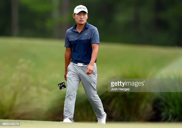 Sung Kang of South Korea walks to the second green during round three of the Shell Houston Open at the Golf Club of Houston on April 1 2017 in Humble...