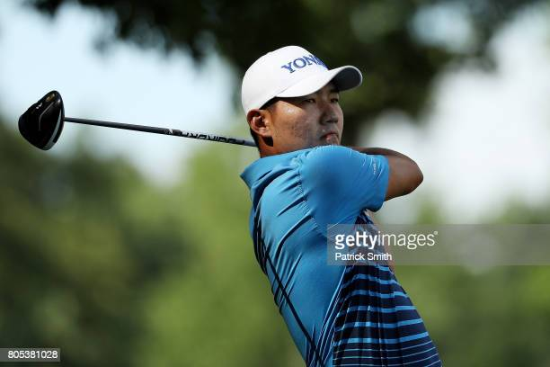 Sung Kang Sung Kang of Korea plays his shot from the eighth tee during the third round of the Quicken Loans National on July 1 2017 TPC Potomac in...