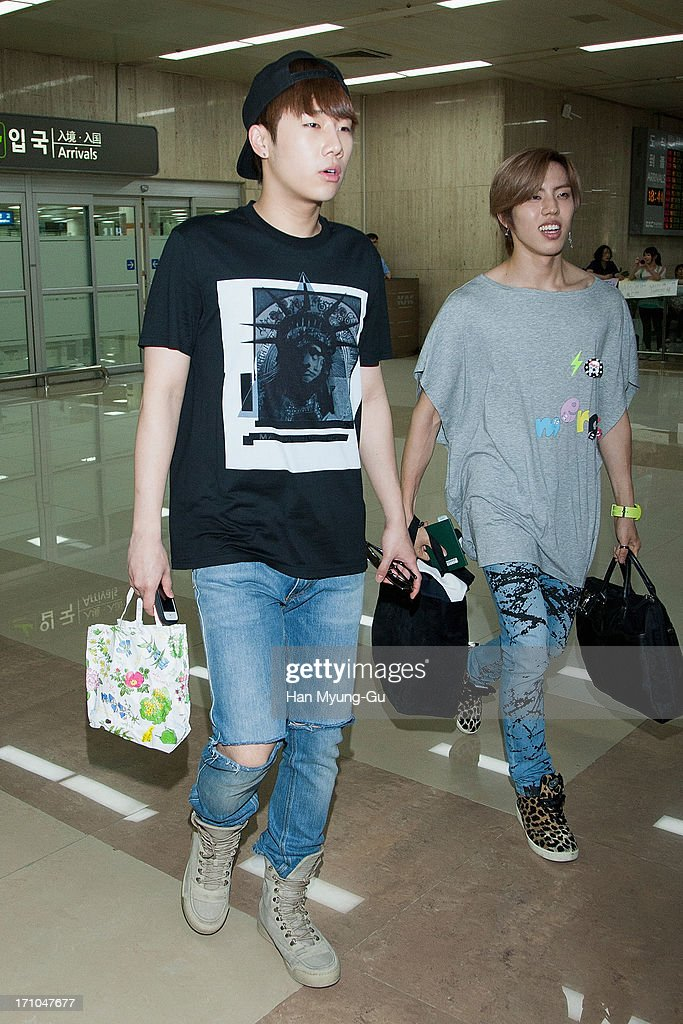Sung Kyu of South Korean boy band Infinite is seen upon arrival at Gimpo International Airport on June 21, 2013 in Seoul, South Korea.