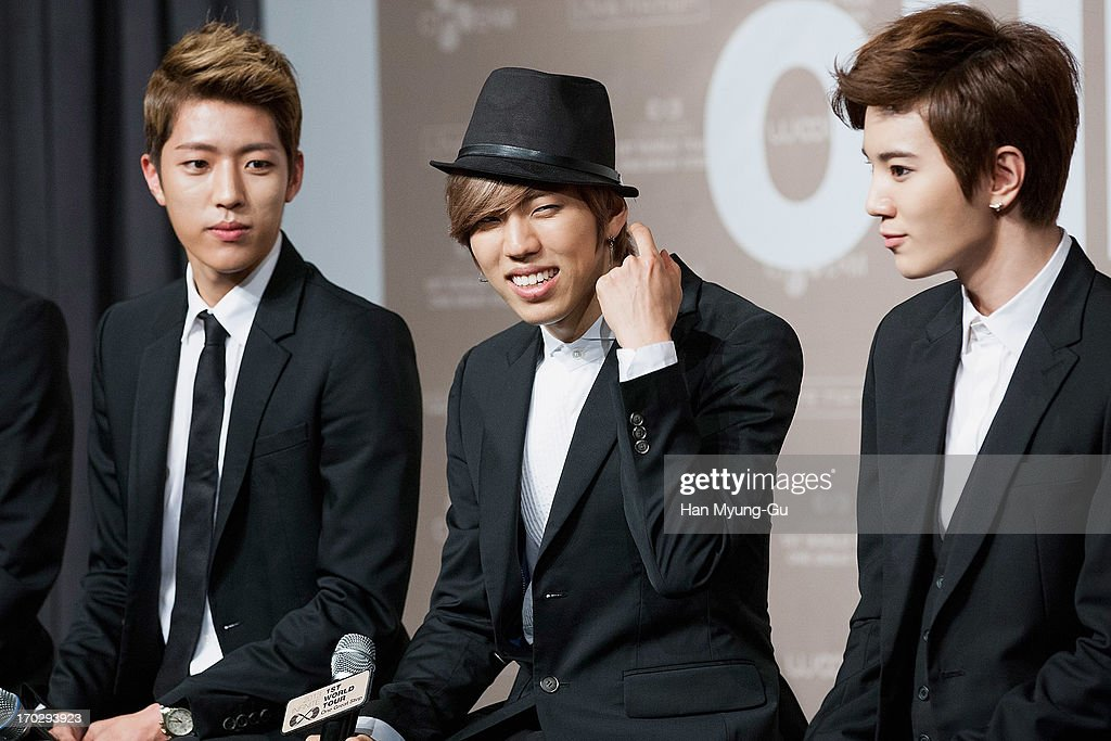 Sung Yeol, Dong Woo and Sung Jong of South Korean boy band Infinite during the 2013 Infinite 1st World Tour 'One Great Step' Press Conference on June 10, 2013 in Seoul, South Korea.