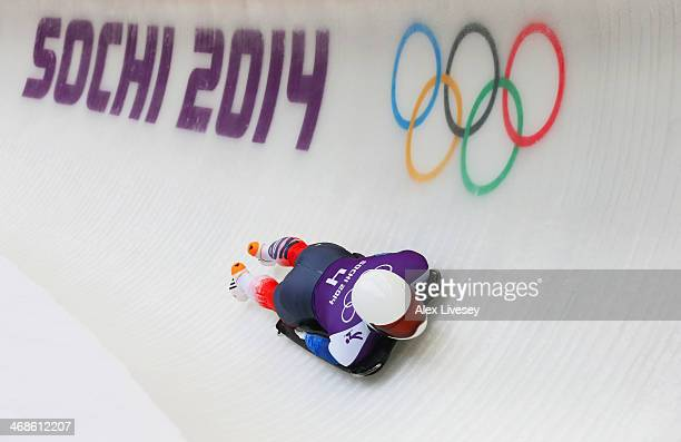 Sungbin Yun of South Korea makes a run during a Men's Skeleton training session on Day 4 of the Sochi 2014 Winter Olympics at the Sanki Sliding...