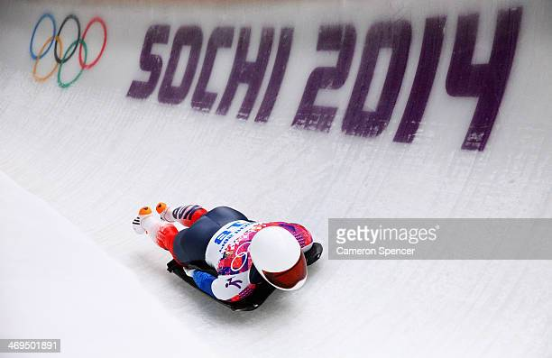 Sungbin Yun of South Korea makes a run during the Men's Skeleton on Day 8 of the Sochi 2014 Winter Olympics at Sliding Center Sanki on February 15...