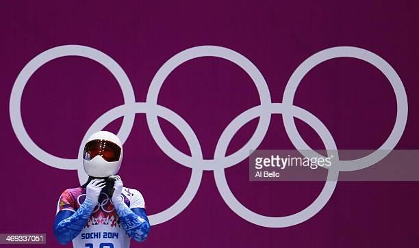 Sungbin Yun of South Korea prepares to start a run during the Men's Skeleton heats on Day 7 of the Sochi 2014 Winter Olympics at Sliding Center Sanki...