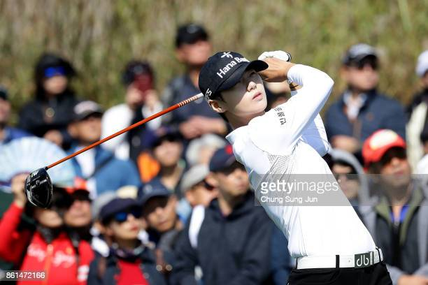SungHyun Park of South Korea plays a tee shot on the 7th hole during the final round of the LPGA KEB Hana Bank Championship at the Sky 72 Golf Club...