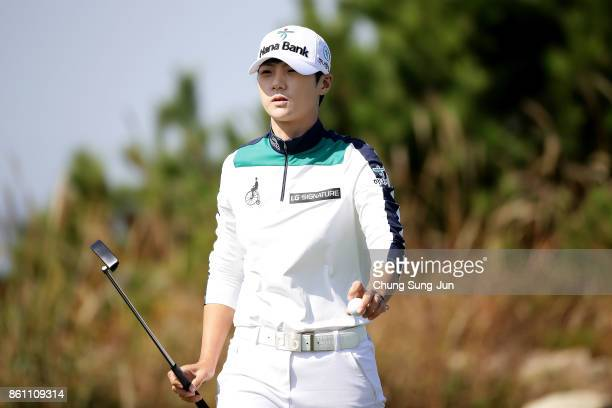 SungHyun Park of South Korea reacts after a putt on the 6th green during the third round of the LPGA KEB Hana Bank Championship at the Sky 72 Golf...