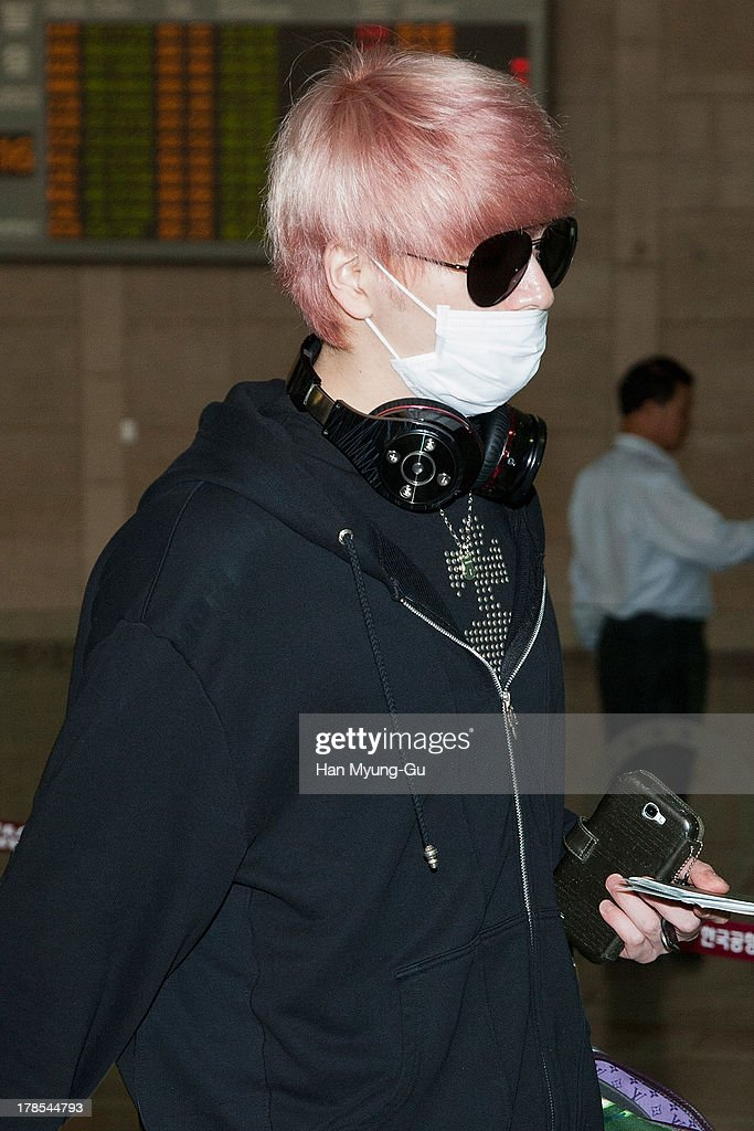 Sungje of South Korean boy band Choshinsung is seen on departure at Gimpo International Airport on August 30, 2013 in Seoul, South Korea.