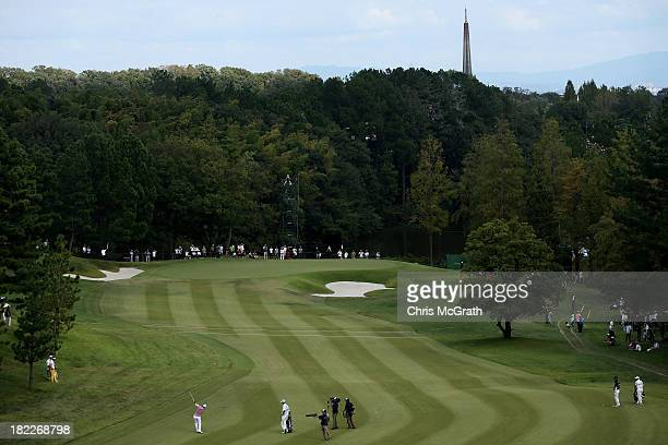 SungJoon Park of Korea plays his second shot on the 16th hole during day four of the Panasonic Japan Open at Ibaraki Golf Club on September 29 2013...
