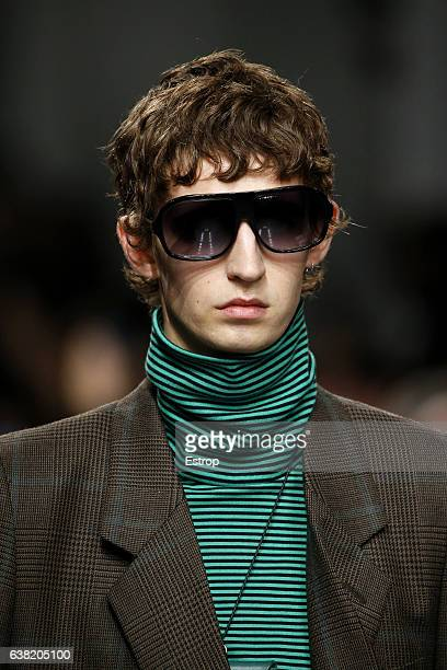 Sunglass detail at the John Lawrence Sullivan show during London Fashion Week Men's January 2017 collections at BFC Show Space on January 9 2017 in...