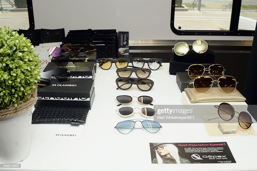 Sunglasses are displayed at the BETX gifting suite during the 2016 BET Experience on June 25, 2016 in Los Angeles, California.