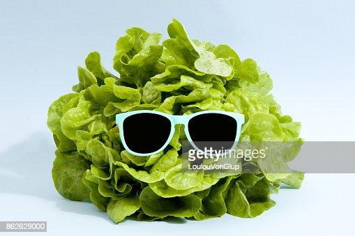 sunglasses lettuce : Foto de stock
