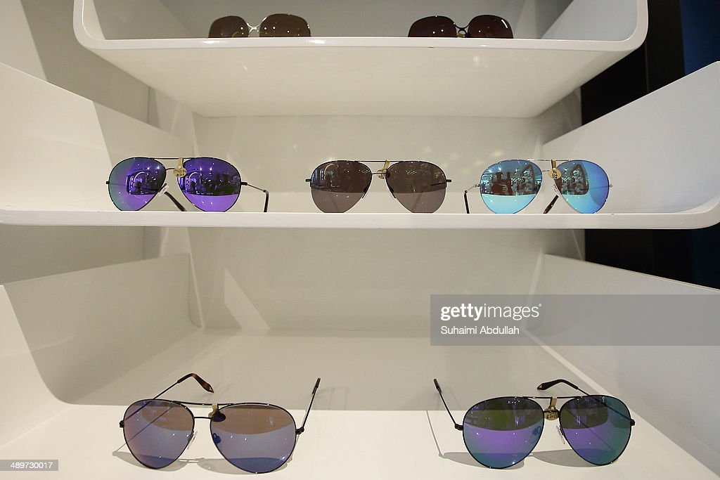 Sunglasses of Victoria Beckham label are seen at On Pedder at Scotts Square on May 12, 2014 in Singapore. Victoria Beckham is in Singapore for the first time to showcase her ready-to-wear pieces from her eponymous fashion label in Singapore