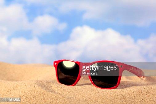 Sunglasses on the beach : Stock Photo