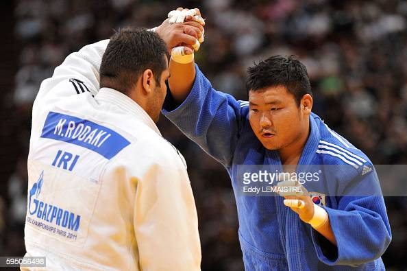 SungMin Kim of South Korea fights against Mohammad Rodaki of Iran during the bronze medal match of the men's over 100kg category of the World Judo...
