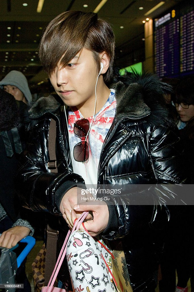 Sungmin of South Korean boy band Super Junior is seen at Incheon International Airport on January 10, 2013 in Incheon, South Korea.