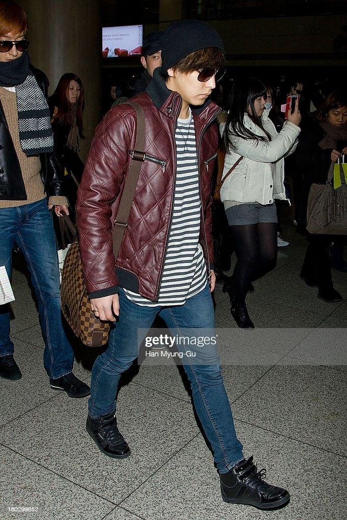 Sungmin of Super Junior M is seen at Incheon International Airport on January 28, 2013 in Incheon, South Korea.