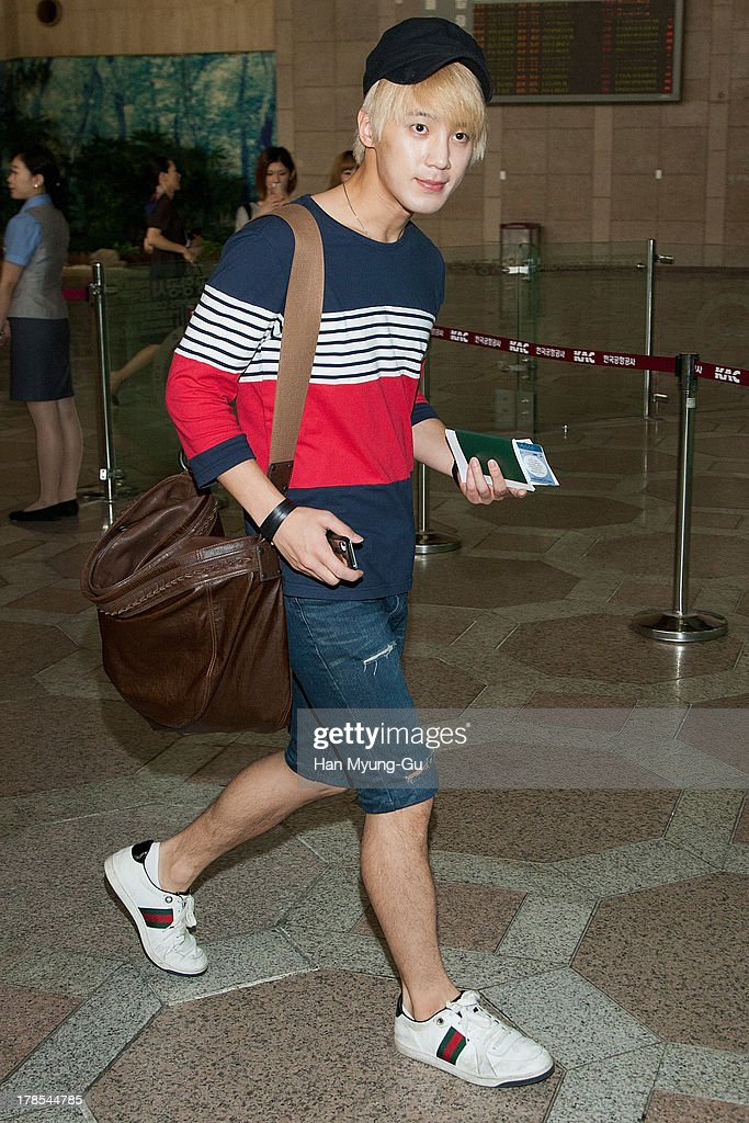 Sungmo of South Korean boy band Choshinsung is seen on departure at Gimpo International Airport on August 30, 2013 in Seoul, South Korea.
