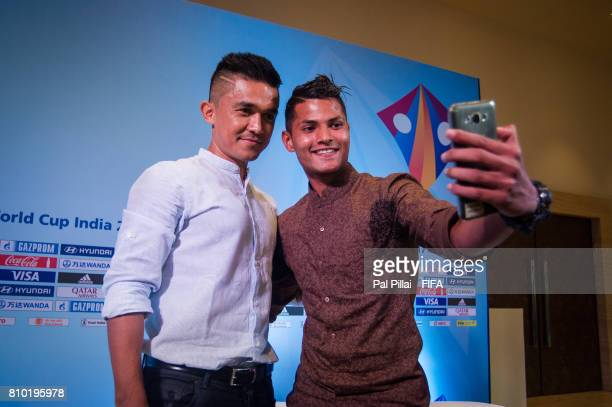 Sunil Chhetri Indian Football Captain poses for a selfie with the U17 players Sanjeev Stalin after their live show on FB before FIFA U17 World Cup...