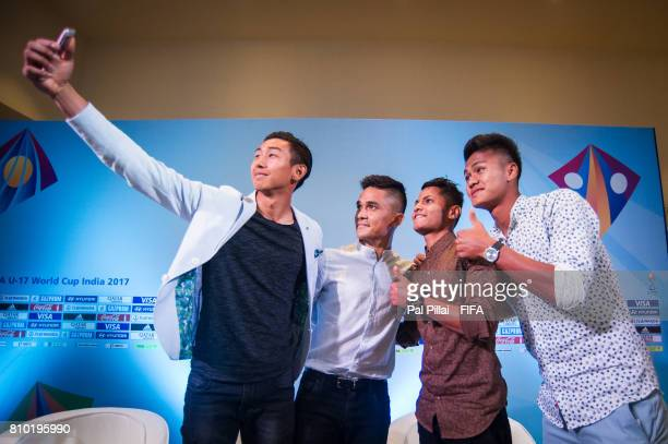 Sunil Chhetri Indian Football Captain poses for a selfie with the U17 players Dheeraj Singh Sanjeev Stalin and Jackson Singh after their live show on...