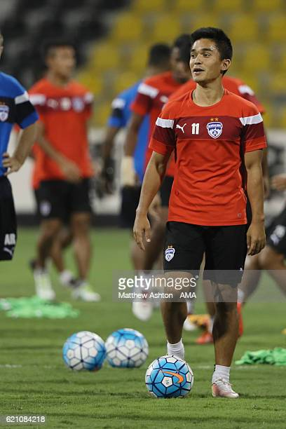 Sunil Chhetri of Bengaluru FC of India during a training session ahead of the AFC Cup Final 2016 between JSW Bengaluru and Air Force Club AlQuwa...