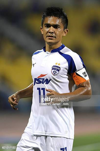Sunil Chhetri of Bengaluru FC of India in action during the AFC Cup Final match between JSW Bengaluru and Air Force Club AlQuwa AlJawiya at Suhaim...