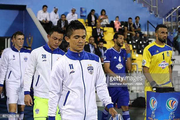 Sunil Chhetri of Bengaluru FC of India leads out his teammates during the AFC Cup Final match between JSW Bengaluru and Air Force Club AlQuwa...