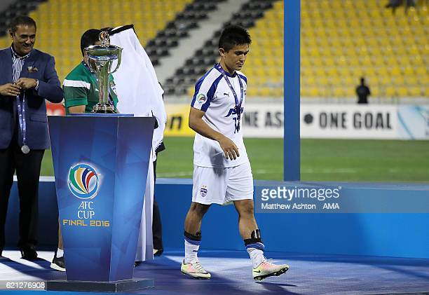 Sunil Chhetri of Bengaluru FC of India walks off the podium with his losers medal at the end of the AFC Cup Final match between JSW Bengaluru and Air...