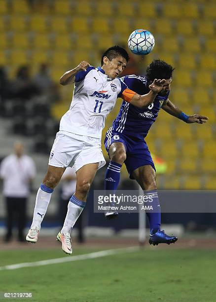 Sunil Chhetri of Bengaluru FC of India wins the ball in the air during the AFC Cup Final match between JSW Bengaluru and Air Force Club AlQuwa...