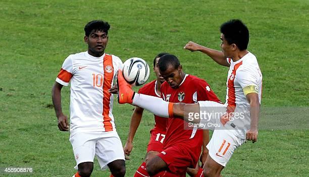Sunil Chhetri of India clashes with Fadi Mahmoud Awad Saleh of Jordan during the Football Mens Group G match between India and Jordan during day...